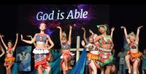 God is able! Dancers help celebrate The United Methodist Church's Imagine No Malaria campaign at the 2016 General Conference. #UMCGC Photo by Paul Jeffrey, United Methodist Communications.