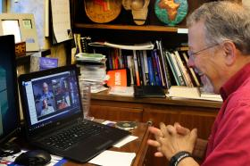 United Methodist Men leader meets with his prayer group via computer.