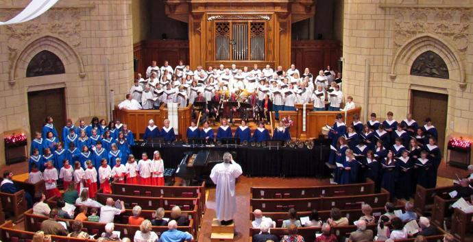 The choirs of Hennepin Avenue United Methodist Church in Minneapolis sing during a Sunday service. Photo courtesy of Hennepin Avenue United Methodist Church.