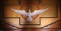 The Holy Spirit is often depicted as a dove, as in this photo of the National Shrine of the Little Flower in Royal Oak, MI. Photo by Nheyob, courtesy Wikimedia Commons.