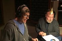 Actors Josh Childs and Henry Haggard in the studio recording the voices for John and Charles Wesley in the animated series Wesleys Take the Web. Photo by Lilla Marigza, United Methodist Communications.