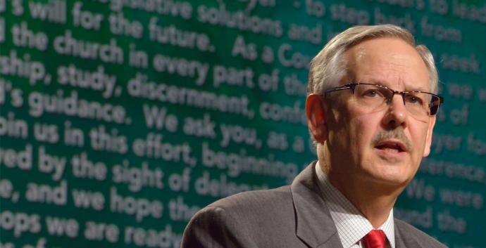 Bishop Ough announced a plan a General Conference 2016. Photo by Paul Jeffrey, United Methodist Communications.