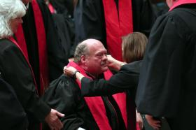 The Rev. Alan Nagel receives his stole at ordination.