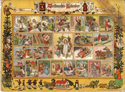 Vintage Advent calendar, Im Lande des Christkinds, featuring art by Richard Ernst Kepler. Published by Gerhard Lang in Munich. Photo by Lewenstein, courtesy Wikimedia Commons.