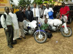 In places like Sierra Leone, motorcycles have replaced the horses of the early circuit riders. Photo by Phileas Jusu, United Methodist Communications.