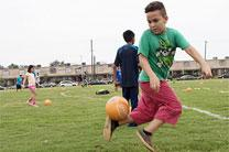 "In an area where green space is hard to find, the new soccer field on the Gethsemane campus of St. Luke's United Methodist Church is a ""kingdom asset,"" says the Rev. David Horton. Photo courtesy of the Texas Annual Conference."