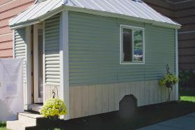 Rev. Rutter's tiny house measures approximately 98 square feet.
