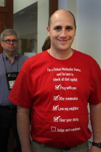 "The Rev. Clark Atkins wears his ""I'm a United Methodist Pastor"" T-shirt."