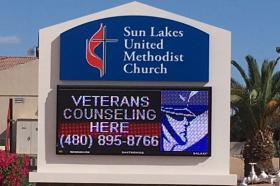 Sun Lakes United Methodist Church's sign advertising Veterans Counseling.