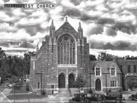 An early photo of Vineland Methodist Episcopal Church.