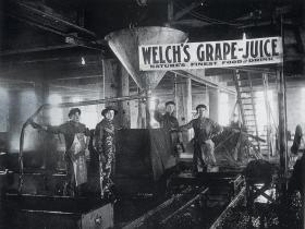 Workers take a break at the Welch's Grape Juice factory in Vineland, NJ.