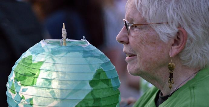 United Methodists held lanterns during a climate vigil held following a day's sessions of the 2016 General Conference. Photo by Paul Jeffrey, United Methodist Communications.