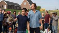 Ye Win (Nelson Lee, left) instructs Rev. Michael Spurlock (John Corbett) where to plant each of the crops to be grown in the fields at All Saints church, in the new movie ALL SAINTS. Photo courtesy of AFFIRM Films and Provident Films.