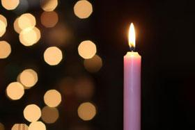 The third Sunday in Advent sees the lighting of the pink or rose candle. Photo by Kathleen Barry, United Methodist Communications