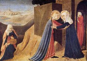 Mary visits Elizabeth in this painting by Fra Angelico (circa 1395-1455).