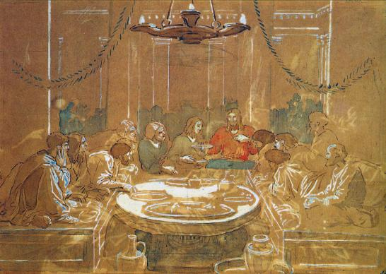 Drawing of the last supper by Alexander Andreyevich Ivanov, courtesy of Wikimedia Commons.