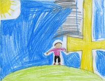 The sun shines down on a golden cross for Easter Sunday. Original drawing by Jake Cummings.