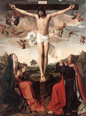 A depiction of Jesus' crucifixion. Photo by Josse Lieferinxe, courtesy Wikimedia Commons.