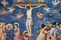 A fresco painting from the late Middle Ages by Giotto di Bondone depicts the Crucifixion. On Good Friday, Christians around the world reflect on the meaning of Jesus' suffering and death. A  public domain image.