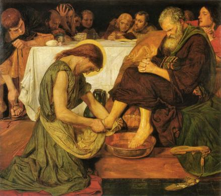 Jesus washing the disciples' feet. Painting by Ford Madox Brown, via Wikimedia Commons.