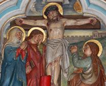 Detail from depiction of Jesus dying by crucifixion from a Dominican Order church in Friesach, Austria. Photo by Neithan90, courtesy of Wikimedia Commons.