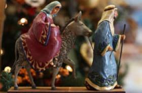 Mary and Joseph journeyed from Nazareth to Bethlehem.