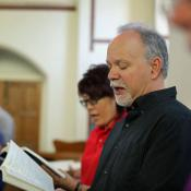 The Rev. Paul Chilcote sings a hymn of Charles Wesley during the 2016 Wesley Pilgrimage in England. Photo by Kathleen Barry, United Methodist Communications.