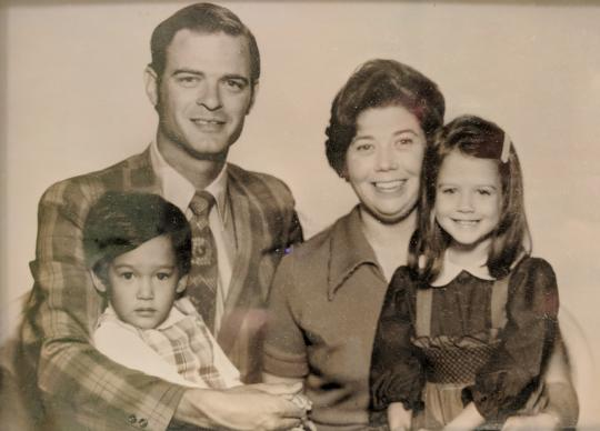 The Roys served as missionaries in Japan before returning to the United States with their children. (Back row, l-r: Bill Roy, Laura Roy / Front row l-r: Kenji Roy, Kimberly Blocker)