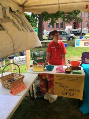 Pat Gardiner serves as a Calvary United Methodist Church representative at community events.