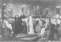 Image portrays the ordination of Francis Asbury on Dec. 27, 1784, at the Christmas Conference. Engraving by A. Gilchrist Campbell, 1882. Courtesy of the United Methodist Commission on Archives and History.