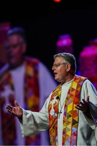 Bishop Christian Alsted preaches at the May 12 morning worship at the United Methodist 2016 General Conference in Portland, Ore. Photo by Maile Bradfield, UMNS