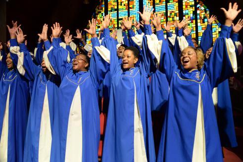 Choir sings at African American church.