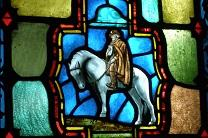 Methodist circuit rider in stained glass, Methodist Sky Chapel, Chicago, IL. Courtesy Chris Light, via Wikimedia Commons.