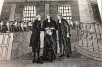 An artist's depiction of Francis Asbury's ordination at the Christmas Conference of 1784 at Lovely Lane Chapel in Maryland.