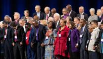 United Methodists prayed together for the church before beginning GC2019. Photo by Mike DuBose, United Methodist Communications.