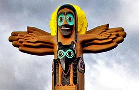 A replica of the Easter Totem Pole by the Rev. David K. Fison stands outside Saint John United Methodist Church in Anchorage, Alaska. Photo courtesy of Saint John UMC.