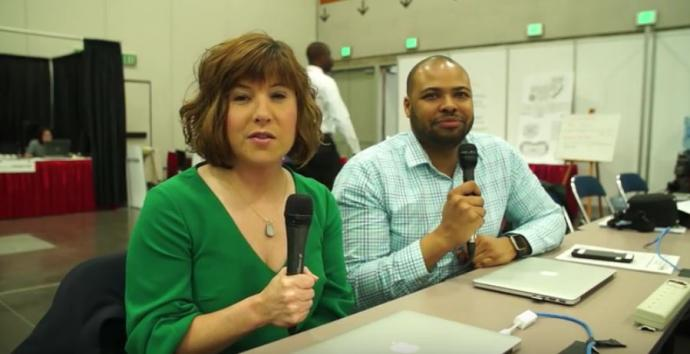 Church communicators give a backstage report about General Conference 2016 in Portland, OR. Video image courtesy of United Methodist Communications.