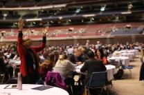Delegate Cheryl Bell participates in the General Conference Day of Prayer. Photo by Kathleen Barry, UMNS.