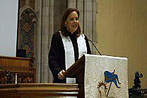 The Rev. Jessica Moffatt speaks from the pulpit of First United Methodist Church of Tulsa, where she is lead pastor. Video image courtesy of Grant Ferguson, First United Methodist Church of Tulsa.
