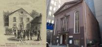 Views show John Street United Methodist Church in New York City in 1768 and in 2013.  Illustration by Kathleen Barry, United Methodist Communications.