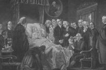 Scene at John Wesley's deathbed is depicted in historic image. Courtesy of United Methodist General Commission on Archives and History.