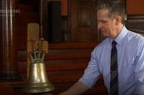 John Strawbridge rings a replica Cokesbury bell on the altar of Lovely Lane United Methodist Church in Baltimore, MD. Video image courtesy of United Methodist Communications.