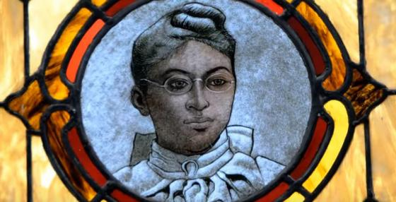 Image of woman in stained glass at Mother Zoar UMC