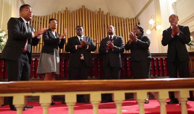 Choir sings as part of