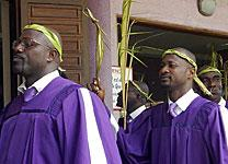 Choristers take part in the 2015 Palm Sunday procession by the faithful at Emmanuel United Methodist Church in Port-Bouët, Côte d'Ivoire. File photo by Isaac Broune, United Methodist Communications.