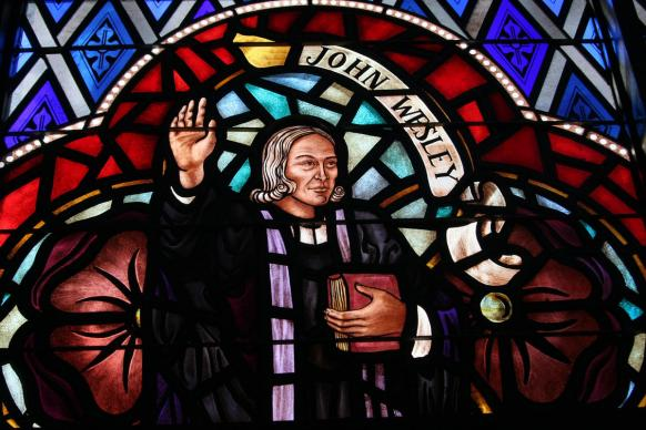 A stained glass window depicts Methodism's founding father, John Wesley. Photo by Ronny Perry, United Methodist Communications.