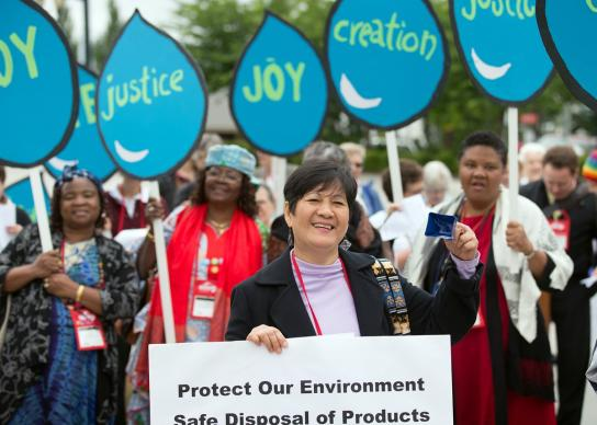 United Methodist Women take part in a witness about climate justice in 2016. File photo courtesy of UMW.