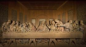 The chapel at Discipleship Ministries in Nashville features a wood carving of the Last Supper.
