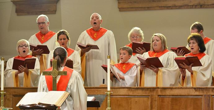 The Celebration Choir of the Poteau First United Methodist Church, which includes nine-year-old Warrick Quarry, sings at a recent worship service. Photo courtesy of Kaycee Quarry.