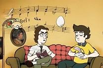 An animated feature has john and Charles writing an Easter hymn. Illustration courtesy of United Methodist Communications.